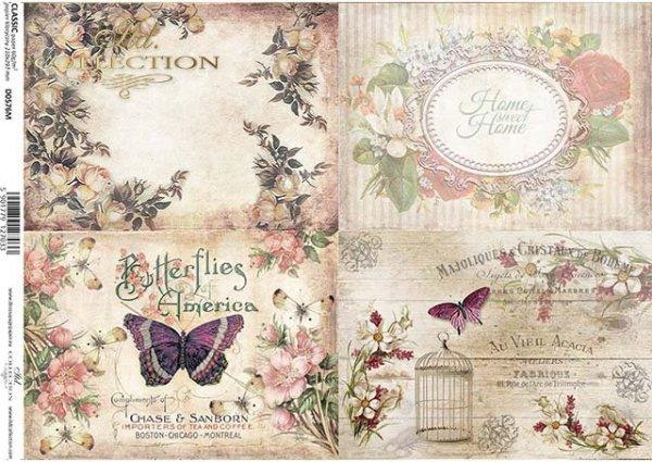 flores de papel decoupage, mariposas, marcos decorativos*Decoupage Papier Blumen, Schmetterlinge, dekorative Rahmen