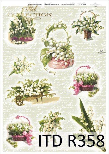 kwiat, kwiaty, konwalia, konwalie, bukiet, bukiety, taczka, taczki, kosz kwiatów, koszyki, R358