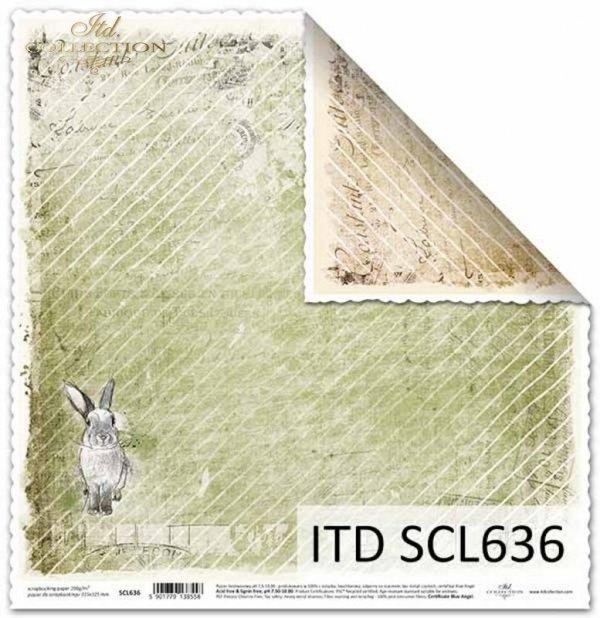 Papier scrapbooking Vintage, zajączki*Vintage scrapbooking paper, bunnies