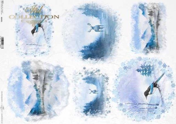 vistas de invierno, montañas, ciervos, urraca*Winteransichten, Berge, Rotwild, Elster*зимние виды, горы, олень, сорока