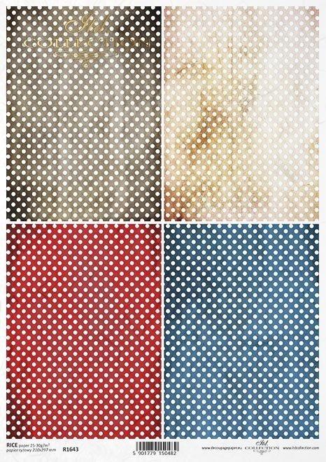 Papier ryżowy z białymi kropkami na kolorowych tłach*Rice paper with white dots on colorful backgrounds