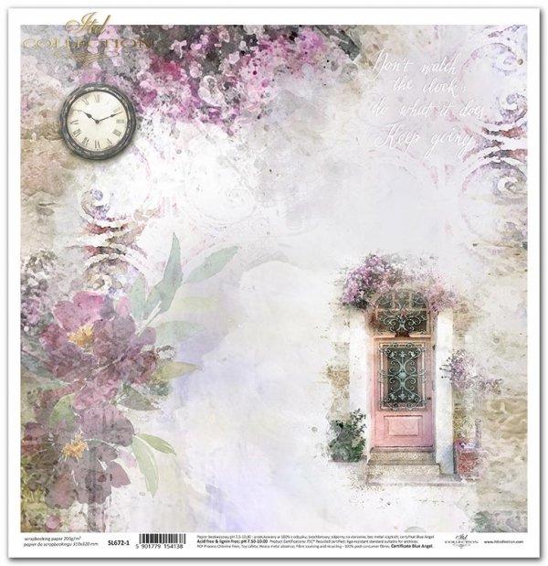 Seria Ogród marzeń - Ogród marzeń, cytat, zegar, czas, ukwiecone drzwi