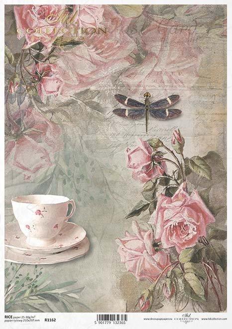 decoupage vaso de papel de la vendimia, rosas, libélula*Vintage decoupage papírový kelímek, růže, vážka*Vintage decoupage Pappbecher, Rosen, Libelle