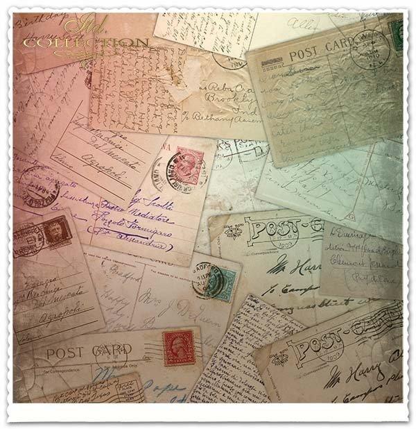 Papier do scrapbookingu - pocztówki z różnych stron świata*Papel para álbumes de recortes - postales de alrededor del mundo