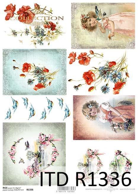 papier ryżowy decoupage kwiaty, Maki, Chabry, dzieci*rice paper decoupage flowers, poppies, cornflowers, children