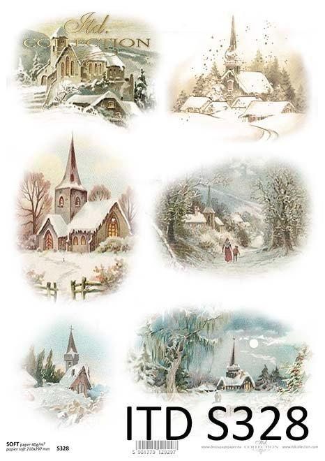 Papier decoupage zima*Paper Decoupage winter