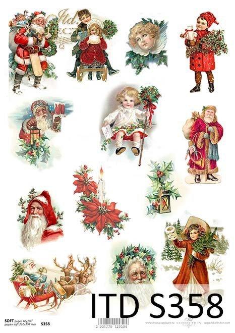 Papier decoupage Vintage-Mikołaj*Vintage Paper Decoupage-Nicholas