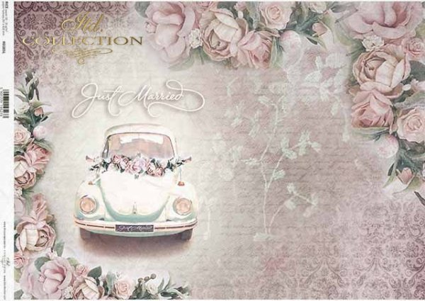 Papel decoupage flores, hermosas rosas, coche de boda*Papier Decoupage Blumen, schöne Rosen, Hochzeitsauto*Декупаж из бумаги цветы, красивые розы, свадебная машина
