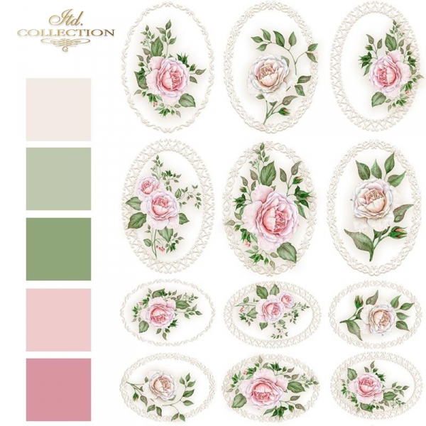 ornamenty-owale-medaliony-kwiaty-w-ramkach-różowe-róże-koronkowe-ramki-Papier-decoupage-ryżowy-R1326