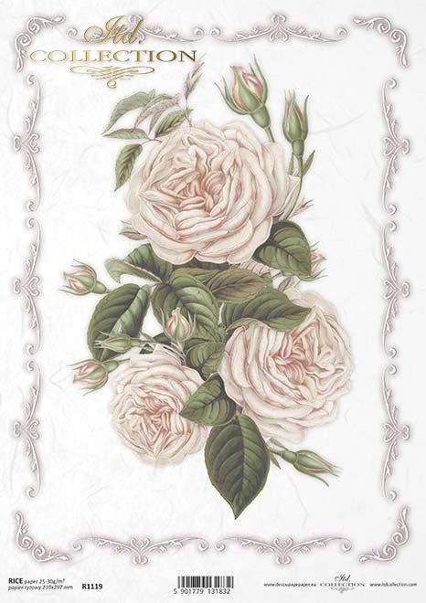 papel decoupage rosas, flores*decoupage papírové růže, květiny*Decoupage Papier Rosen, Blumen