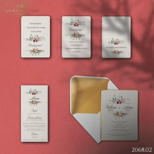 Zaproszenie 2068 * Zaproszenia ślubne * menu * winietka * koperta z wklejką - wersja 2