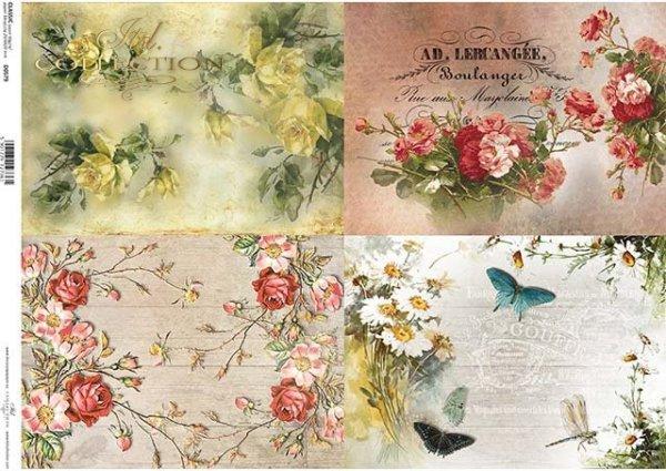 papel decoupage flores, rosas, mariposas*decoupage Papierblumen , Rosen, Schmetterlinge