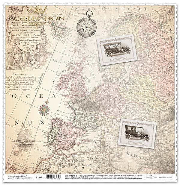 Papier für das Scrapbooking - alte Karten, retro Autos*Papír na scrapbooking - staré mapy, retro auta