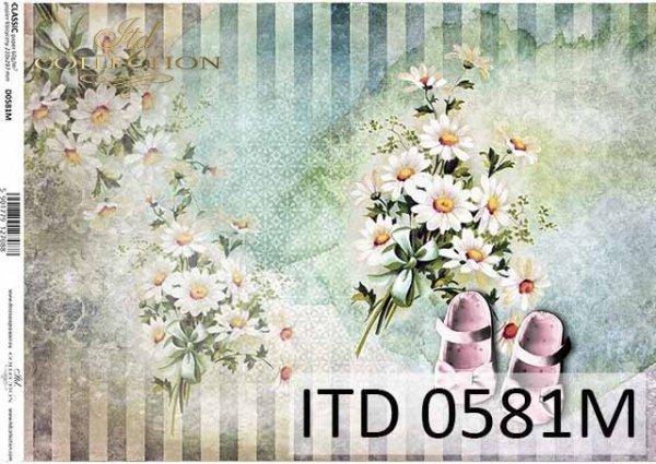 papier decoupage urodziny dziecka, dla dziewczynki, buciki, kwiatki*decoupage paper for a child's birthday, for a girl, shoes, flowers