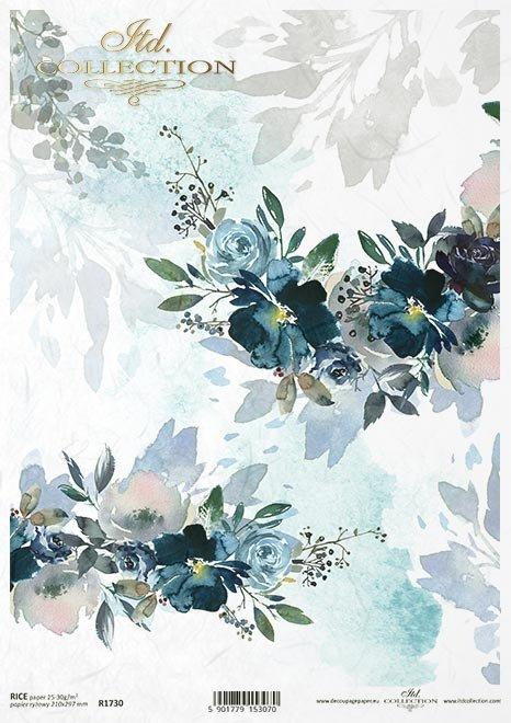 Niebieskie kwiaty, kolaż, tapeta, tło. kwiaty, akwarelka, akwarele.