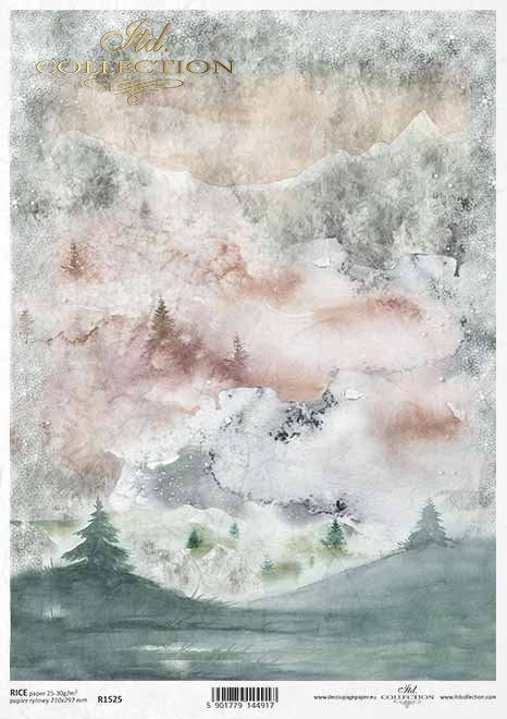 Papel decoupage con vista a la montaña en invierno*Decoupage-Papier mit Winterbergblick*Декупаж с зимним видом на горы