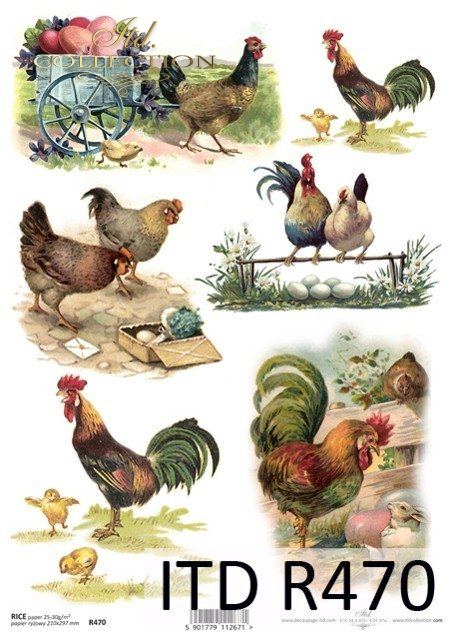 Wielkanoc, wiosna, retro, jajka, kurczaki, kura, kury, kogut, koguty