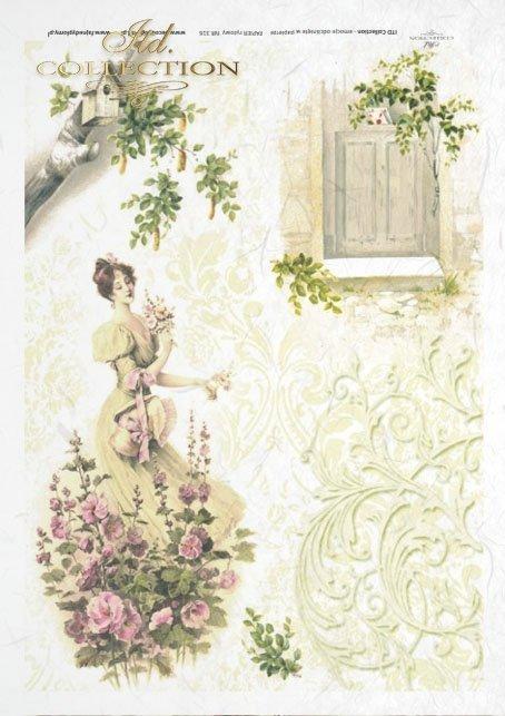 spring, flower, flowers, mallow, birdhouse, woman, dress, retro