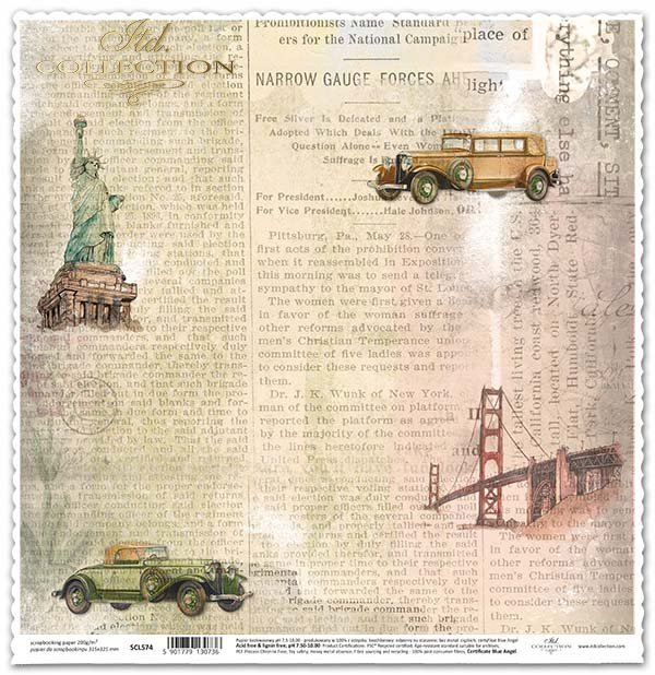 Papel para álbumes de recortes - periódico viejo, la estatua de la libertad*Papír na scrapbooking - staré noviny, Socha Svobody