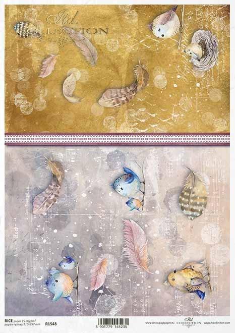 Acuarela decoupage papel pájaros, plumas, collage*Aquarell Decoupage Papier Vögel, Federn, Collage*Акварельная бумага для декупажа птицы, перья, коллаж