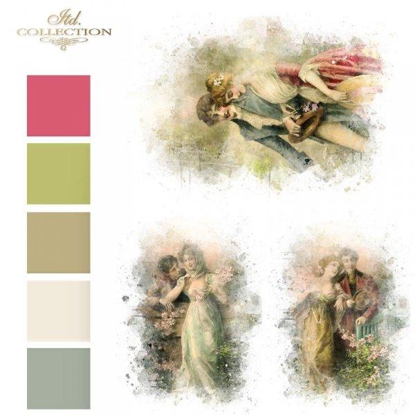 Papier-decoupage-retro-Zakochana-Para-Akwarela*Paper Decoupage-retro-Love-Watercolor-kolory