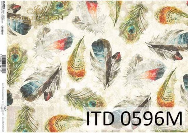 papier decoupage z piórami*decoupage paper with feathers