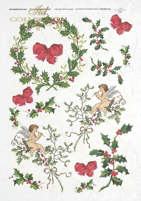 Jemioła, ostrokrzew, ozdoby świąteczne, Boże Narodzenie, aniołki, R0203