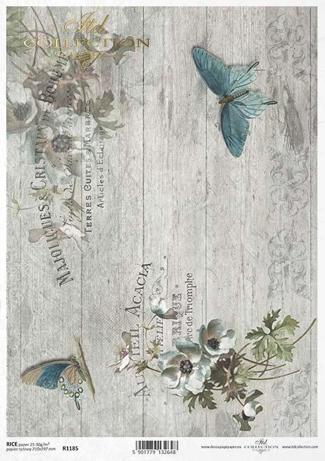 decoupage de papel de la vendimia, tablero gris, mariposas*Vintage Decoupage Papier, Graupappe , Schmetterlinge