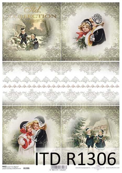 Papier decoupage Vintage, Boże Narodzenie, koronki*Vintage, Christmas, lace*Vintage, Weihnachten, Spitze*Vintage, Navidad, encaje*Винтаж, Рождество, кружева