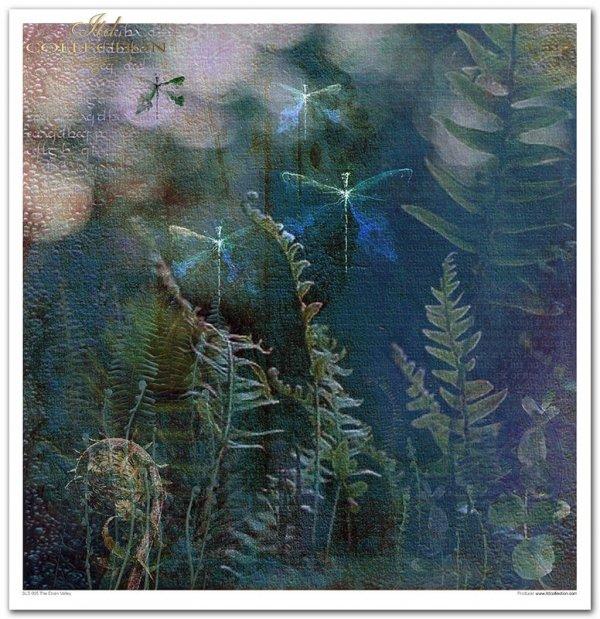 Kolekcja 'Dolina Elfów', akwarele, kwiaty, niebieskie kwiaty, Elf, drzwi, Elfy, dolina Elfów, kolaż, paproć, paprotka, las, ważki