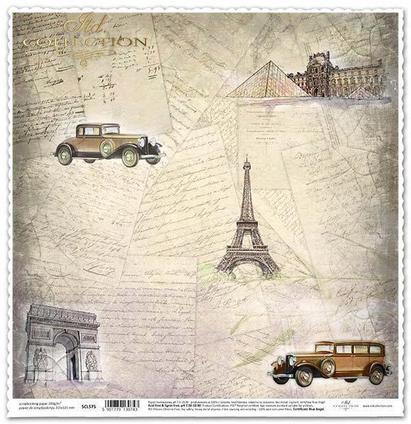 Papier für das Scrapbooking - alte Briefe, vertraute Orte, alte Autos*Papír na scrapbooking - starých dopisů, známá místa, stará auta