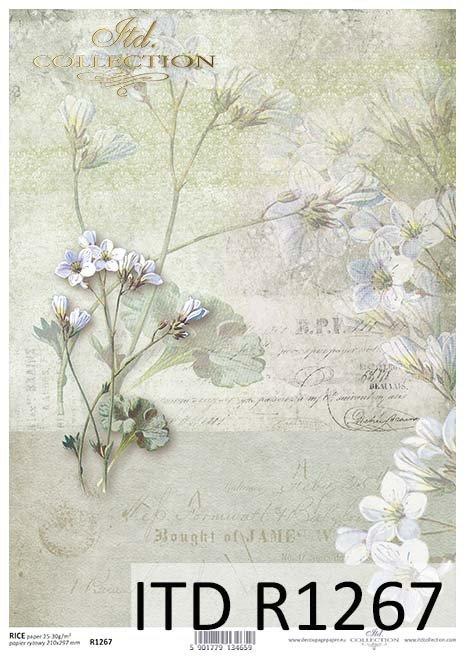 papier decoupage retro, kwiaty, napisy*Paper decoupage retro, flowers, inscriptions