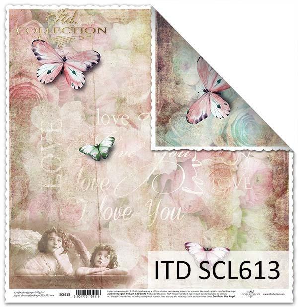 papier do scrapbookingu, aniołki, motyle*Scrapbooking paper, angels, butterflies