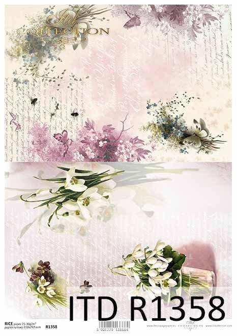papier ryżowy decoupage kwiaty, Przebiśniegi, stare pismo*rice paper decoupage flowers, snowdrops, old letter