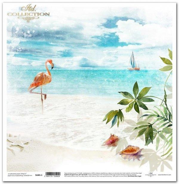 Seria Tropical dreams - tropikalna plaża, pelikan, muszle, liście palmy