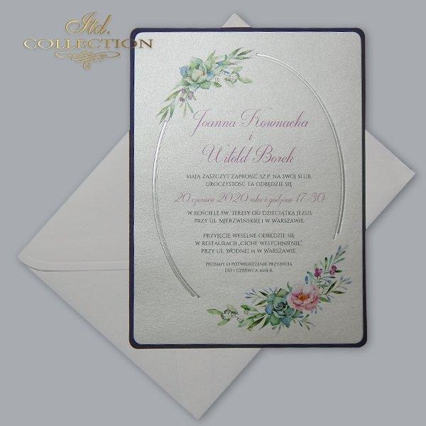 Zaproszenie 2074*Zaproszenia ślubne*zaproszenia na ślub*zaproszenia weselne*zaproszenia z kwiatami*eleganckie zaproszenia