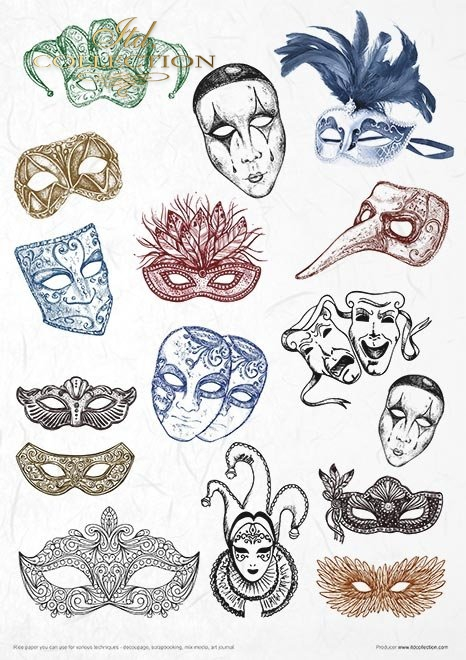 Conjunto creativo sobre papel de arroz - Carnaval - Pierrot enamorado*Kreativset auf Reispapier - Karneval - Pierrot verliebt
