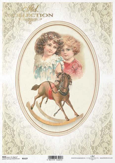 decoupage de papel caballo mecedora, encajes, oval adornado*Papír decoupage houpací kůň, krajka, ozdobený oválné*Papier decoupage Schaukelpferd , spitze, verziert oval