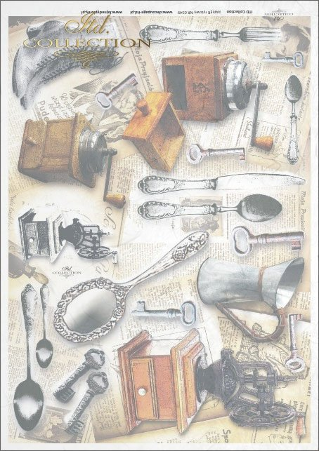 cutlery, spoon, spoons, boots, coffee grinder, key, wrench, watering can, retro, vintage, newspaper, newspapers, R349