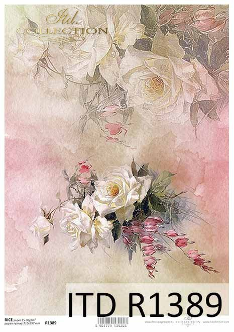 papier decoupage kwiaty, róże, niezapominajki*decoupage paper flowers, roses, forget-me-nots
