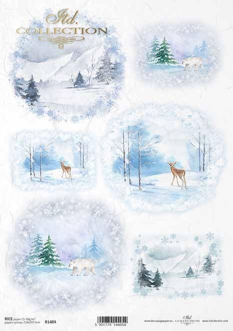 vistas de invierno, montañas, ciervos, oso*Winteransichten, Berge, Hirsch, Bär*зимние виды, горы, олень, медведь