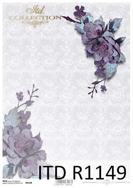 papier decoupage kwiaty, koronka*Paper decoupage flowers, lace