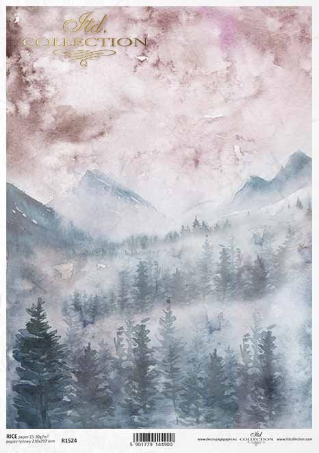 Papel decoupage con vista a la montaña*Decoupage-Papier mit Blick auf die Berge*Декупаж с видом на горы