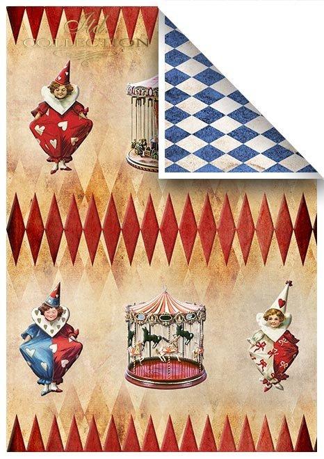 Conjunto de papeles de scrapbooking - Karnival Pierrot enamorada*Set von Scrapbooking-Papieren - Karnival Pierrot verliebt