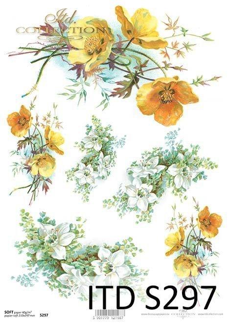 papier decoupage kaczeńce*decoupage paper marigolds