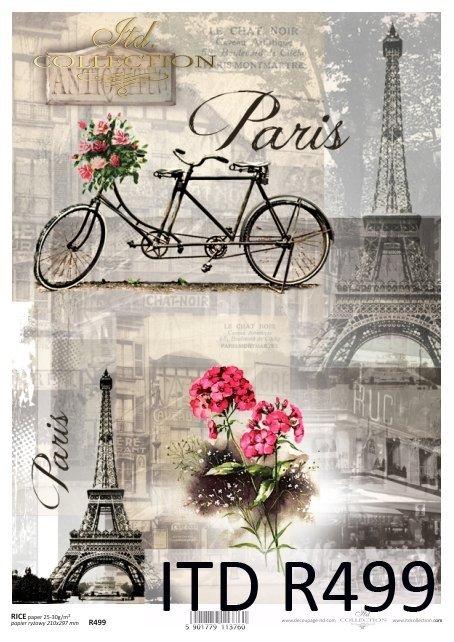 rower, tandem, wieża Eiffla, Paryż, retro, rower dla dwojga, kwiaty, R499