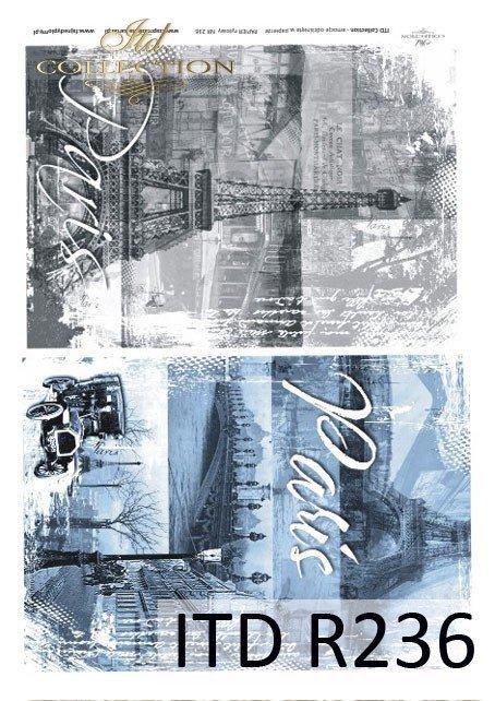 Paryż, zamglony poranek, wieża Eiffla, most, zabytkowy samochód, atmosfera dawnego Paryża