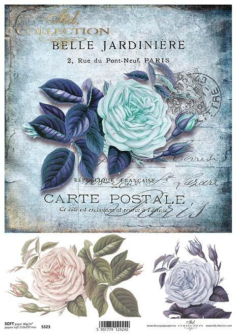 decoupage de papel rosas azules*Papír Decoupage modré růže*decoupage de papel rosas azules