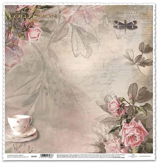 Papier für das Scrapbooking - Tasse, Blumen, Tee-Zeit*Papel para álbumes de recortes - taza, flores, la hora del té*Papír na scrapbooking - pohár, květiny, čaj čas