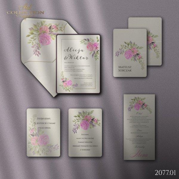 Zaproszenie 2077 * Zaproszenia ślubne * menu * winietka * koperta z wklejką - wersja 1